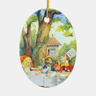 Mad Hatters Tea Party Color Ceramic Oval Decoration