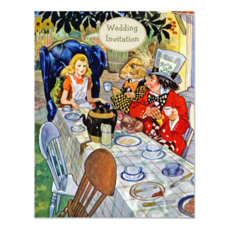Mad Hatter's Tea Party Wedding 11 Cm X 14 Cm Invitation Card
