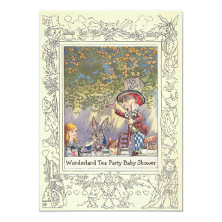 Mad Hatter's Wonderland Tea Party Baby Shower 13 Cm X 18 Cm Invitation Card