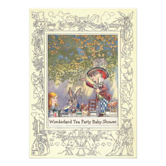 Mad Hatter's Wonderland Tea Party Baby Shower Announcements