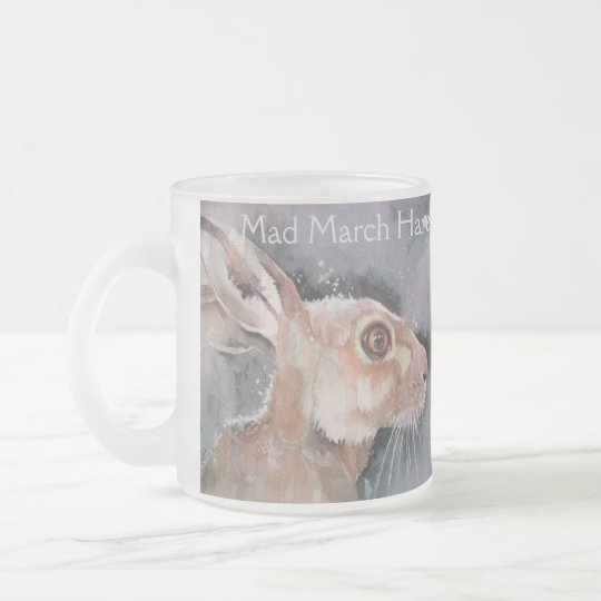Mad March Hare. Rabbits Frosted Glass Coffee Mug