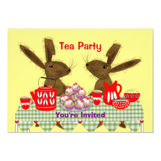 Mad March Hares Tea Party Personalized 13 Cm X 18 Cm Invitation Card