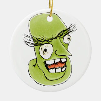 Mad Monster Man with Evil Expression Round Ceramic Decoration