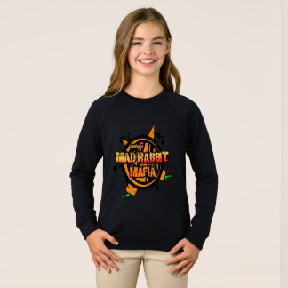 Mad Rabbit Girls' Raglan Sweatshirt, Black Sweatshirt