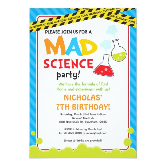 Mad Science Birthday Invitation Mad Scientist Zazzle Co Uk