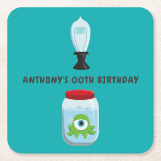 Mad Science Birthday Party Square Paper Coaster