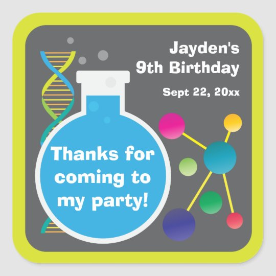 Mad Science Lab Birthday Party Favour Square Sticker