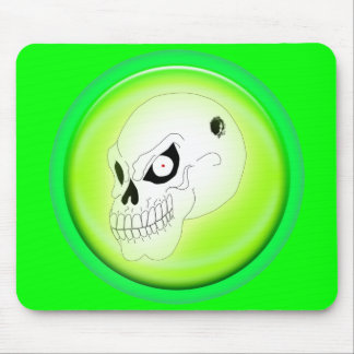 Mad Skull On Green Mousepad