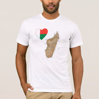 Madagascar Flag Heart and Map T-Shirt