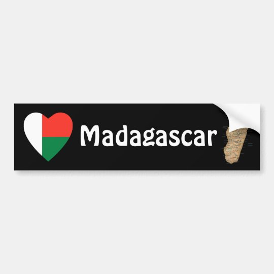 Madagascar Flag Heart + Map Bumper Sticker