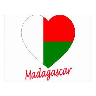 Madagascar Flag Heart Postcards