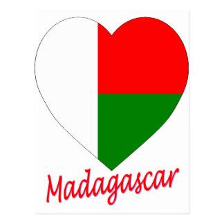 Madagascar Flag Heart Postcard