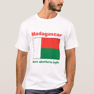 Madagascar Flag + Map + Text T-Shirt