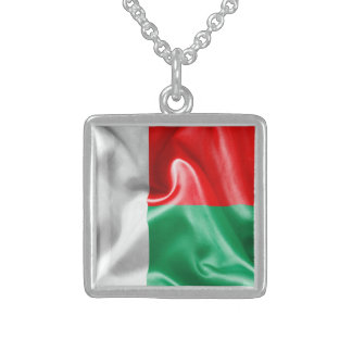 Madagascar Flag Square Pendant Necklace