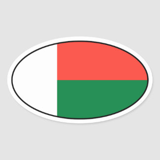 Madagascar Flag Oval Sticker