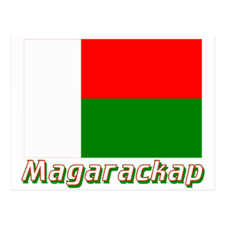 Madagascar Flag with name in Russian Post Card