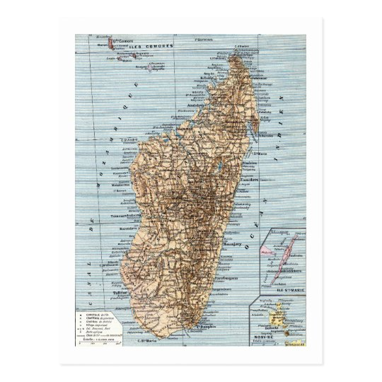 Madagascar Map Postcard