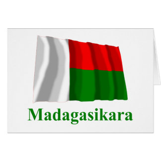 Madagascar Waving Flag with Name in Malagasy Greeting Card