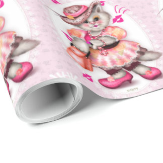"""MADAME CAT 2 CARTOON Wrapping Paper 30"""" x 15'"""