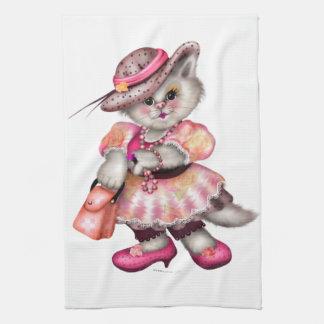 MADAME CAT CARTOON  Linen with crockery Hand Towels