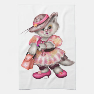 MADAME CAT CARTOON  Linen with crockery Tea Towel