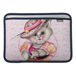 "MADAME CAT CUTE CARTOON Macbook Air 11"" HORIZONTAL Sleeve For MacBook Air"