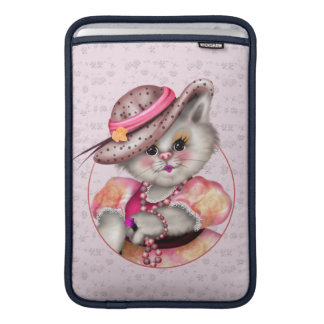 "MADAME CAT CUTE CARTOON Macbook Air 11"" Sleeve For MacBook Air"