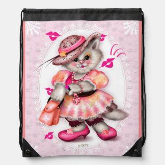 MADAME CAT LOVE CARTOON Drawstring Backpack