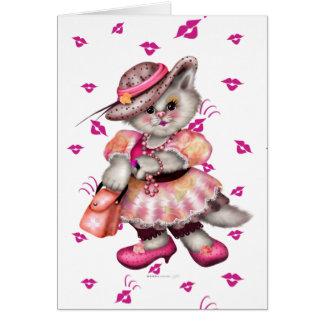 MADAME CAT LOVE CARTOON GREETING Card