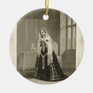 Madame Celeste as the Princess Katherine, Act V Sc Round Ceramic Decoration