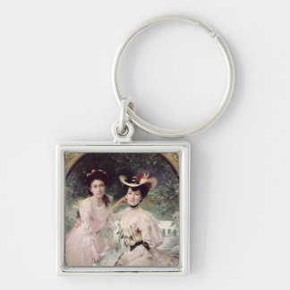 Madame Collas and her Daughter, Giselle, 1903 Silver-Colored Square Key Ring