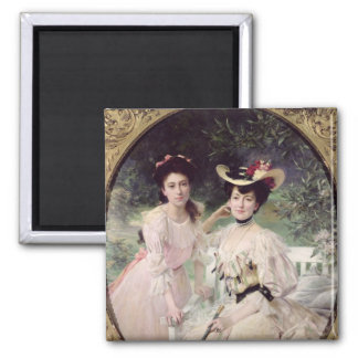 Madame Collas and her Daughter, Giselle, 1903 Square Magnet
