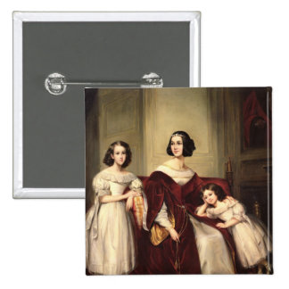 Madame de Nonjon and her Two Daughters, 1839 15 Cm Square Badge