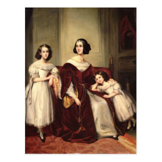 Madame de Nonjon and her Two Daughters, 1839 Postcard