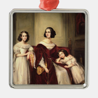 Madame de Nonjon and her Two Daughters, 1839 Silver-Colored Square Decoration