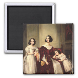 Madame de Nonjon and her Two Daughters, 1839 Square Magnet