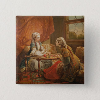 Madame de Pompadour in the role of fortuneteller 15 Cm Square Badge
