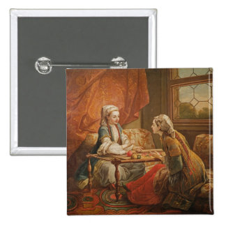 Madame de Pompadour in the role of fortuneteller 15 Cm Square Badge