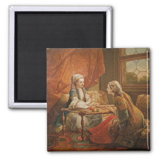Madame de Pompadour in the role of fortuneteller Square Magnet