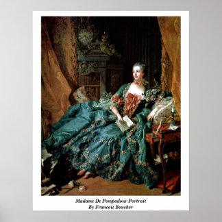 Madame De Pompadour Portrait By Francois Boucher Poster