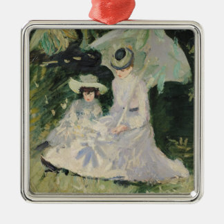 Madame Helleu and her Daughter Silver-Colored Square Decoration