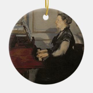 Madame Manet at the Piano, 1868 Round Ceramic Decoration
