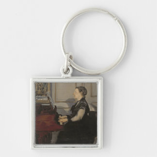 Madame Manet at the Piano, 1868 Silver-Colored Square Key Ring
