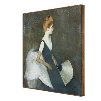Madame Marthe Letellier Sitting on a Sofa Canvas Print