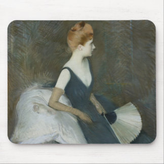 Madame Marthe Letellier Sitting on a Sofa Mouse Pad