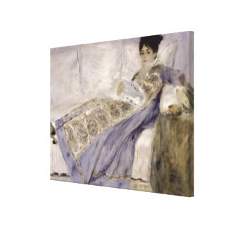 Madame Monet on a Sofa, c.1874 (oil on canvas) Stretched Canvas Print