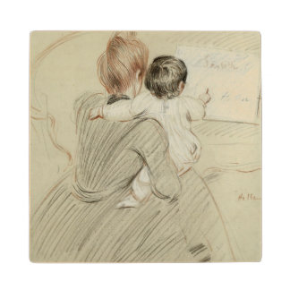 Madame Paul Helleu and her Daughter Paulette Maple Wood Coaster