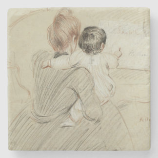 Madame Paul Helleu and her Daughter Paulette Stone Beverage Coaster