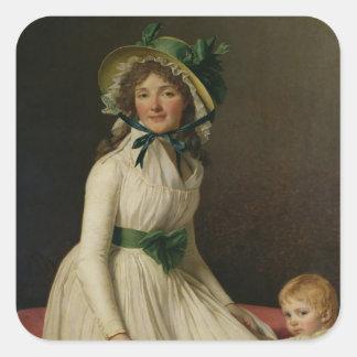 Madame Pierre Seriziat  with her Son, Emile Square Sticker