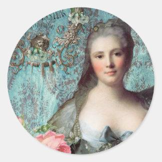 Madame Pompadour Envelope or Gift Seals Round Sticker